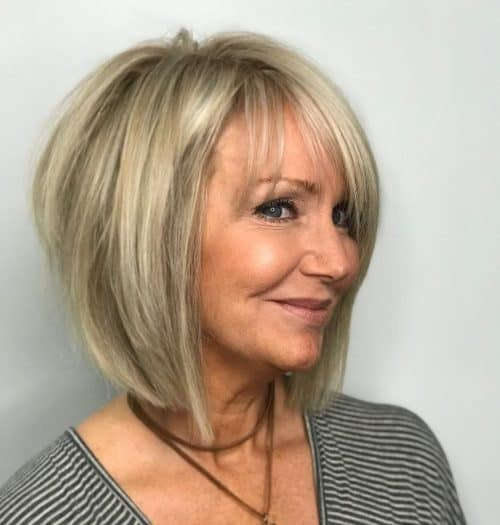 angled bob short choppy hairstyles for over 60