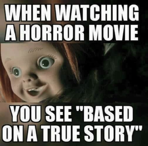 watching horror movie memes
