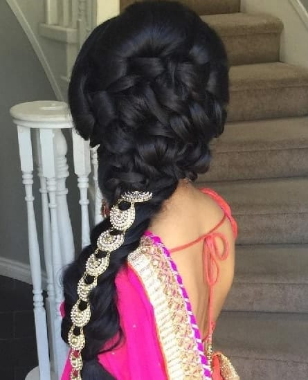 side braid with jewels for long hair