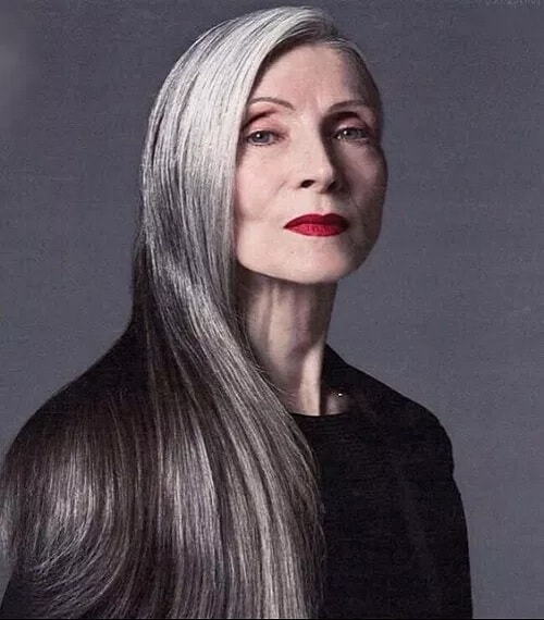 Long straight hairstyle for women over 60