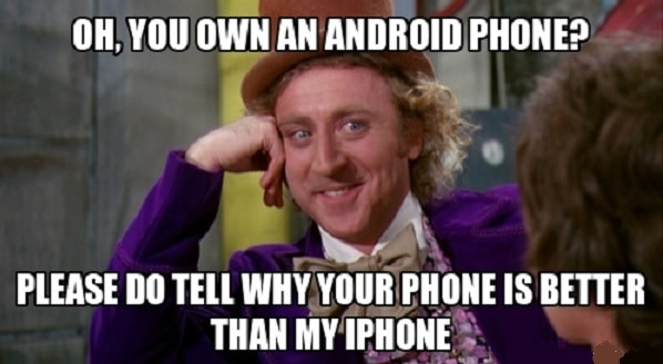 hilarious meme about iPhone vs Android