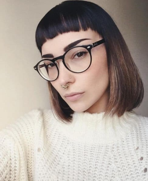 baby bangs with glasses combo for girls