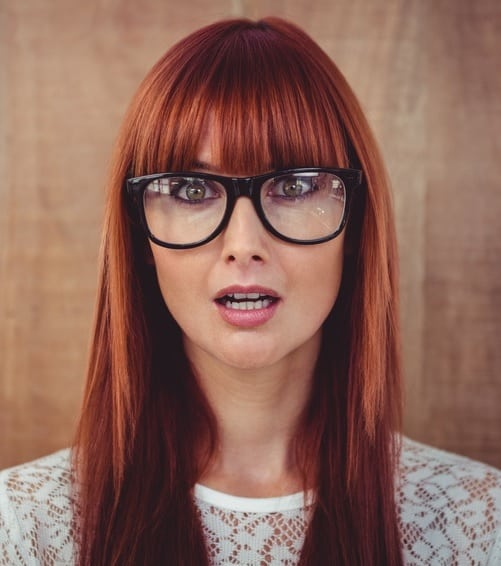 hairstyle with blunt bangs and glasses