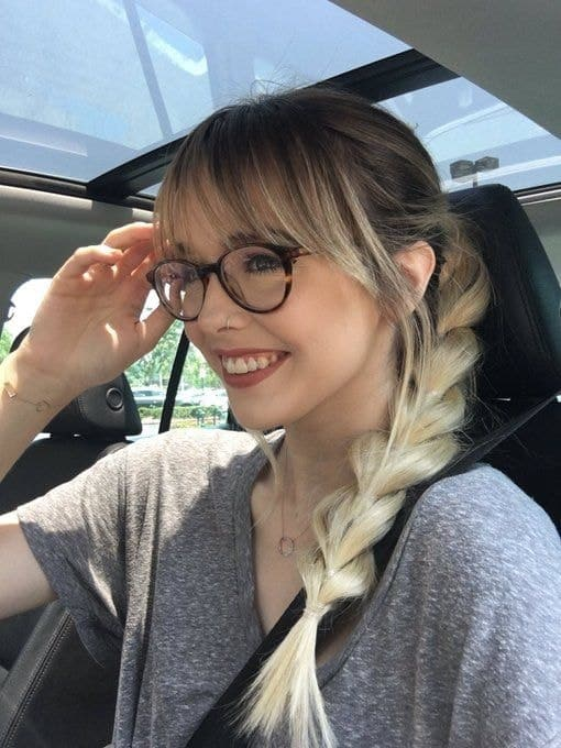 braids with bangs and glasses for women