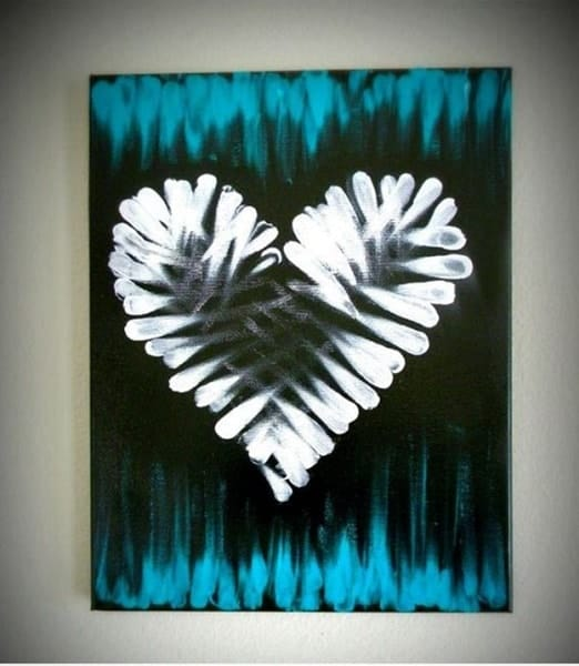 Finger painting with heart designs