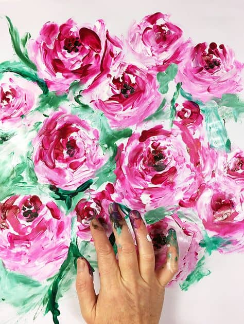 floral finger paint ideas