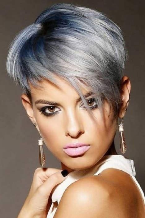 Platinum Grey Ombre Pixie Cut