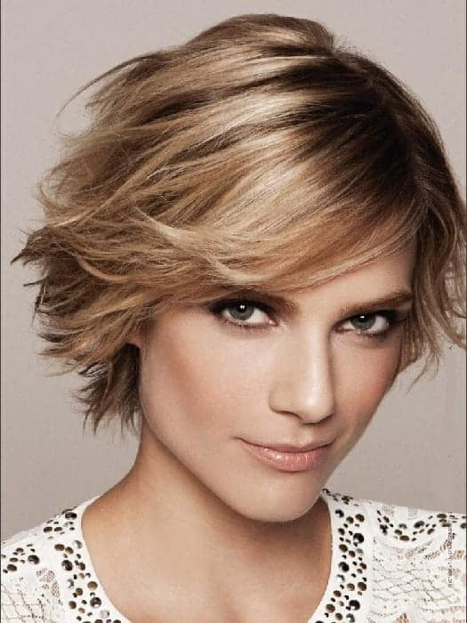 caramel brown ombre pixie cut