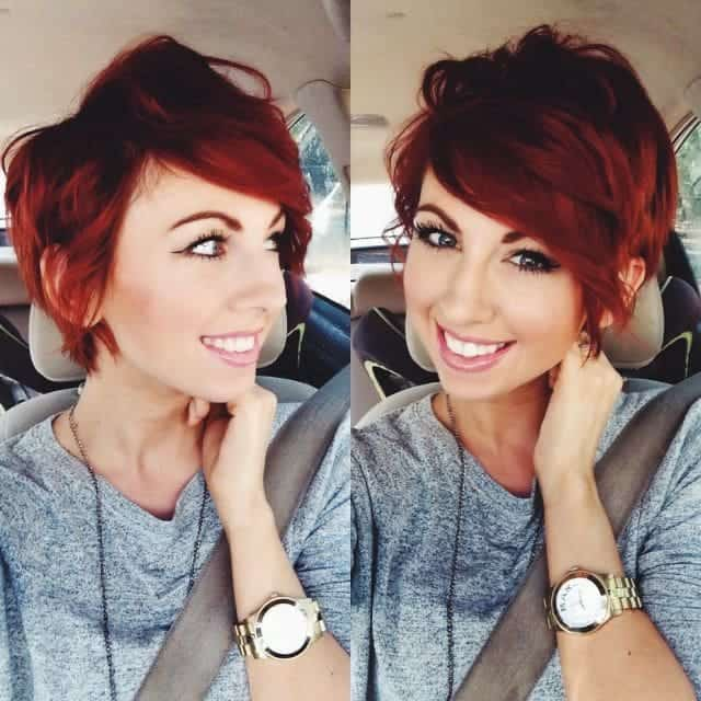 red ombre pixie cut for women