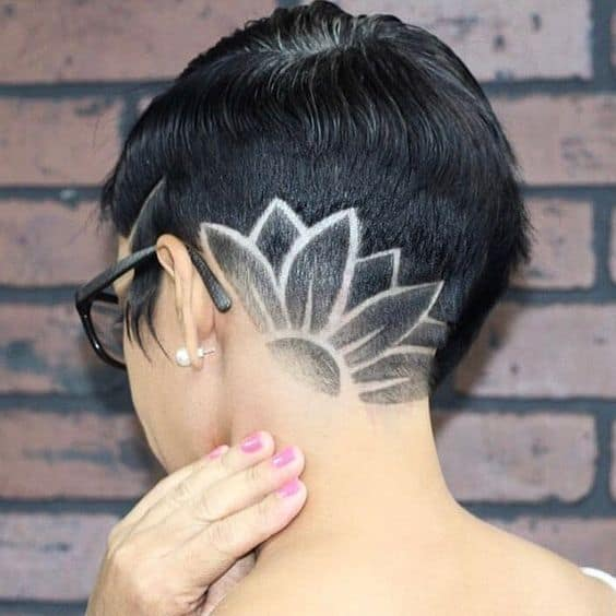 shaved head with flower design