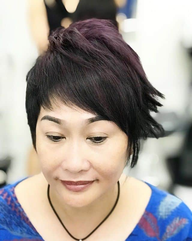 short asymmetrical pixie for women