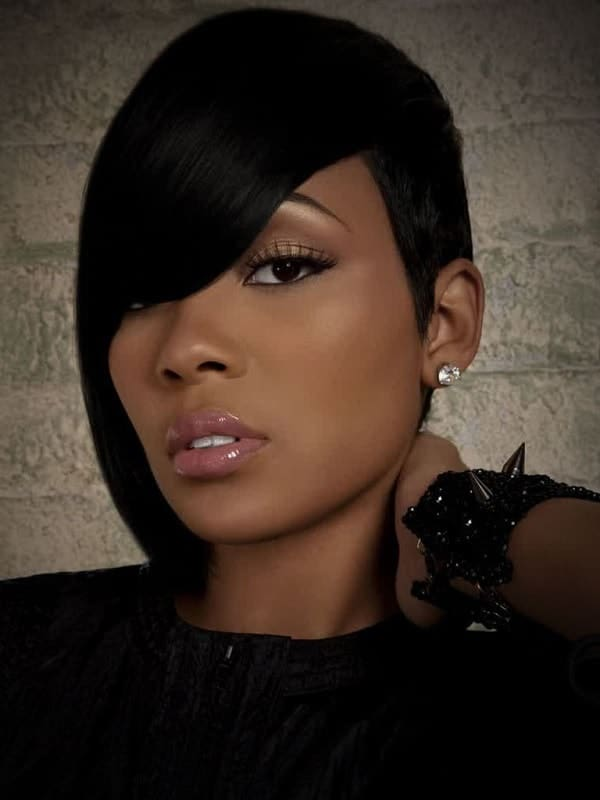 black women's short hair with bangs