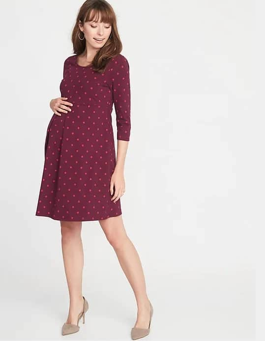 maternity swing dress with polka dots