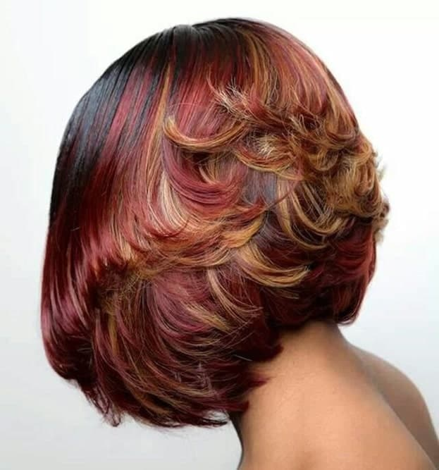 feathered bob for african american women