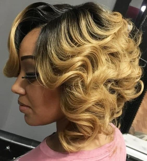 curly feathered bob for black women