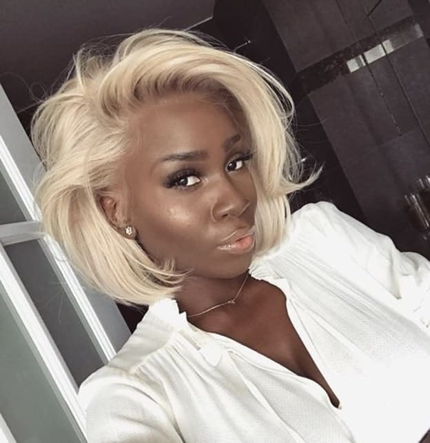 Platinum Feathered Bob for Black Women