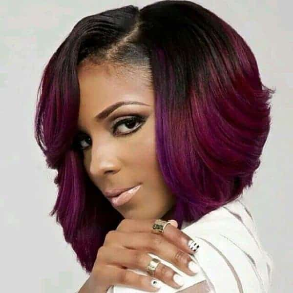 purple ombre feathered bob for black women
