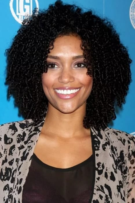 Afro curls with short bangs