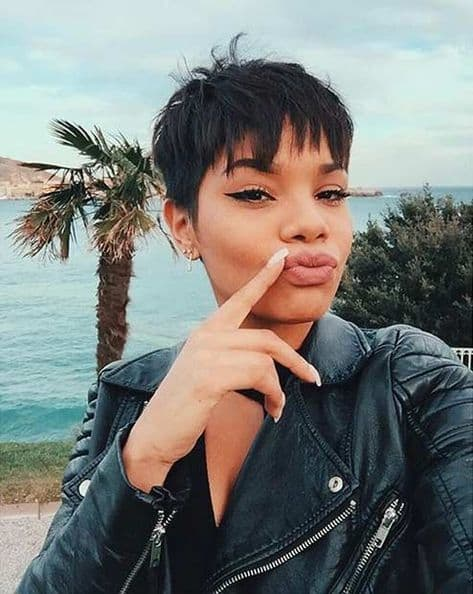 black pixie with bangs