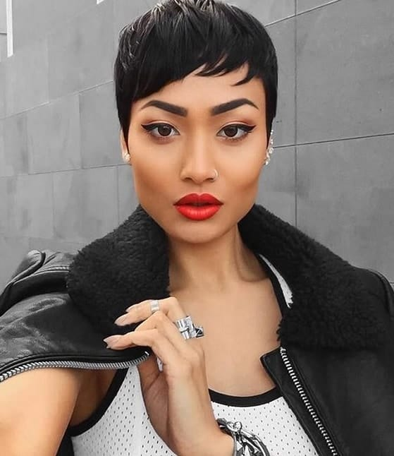 Pixie with short bangs for black women