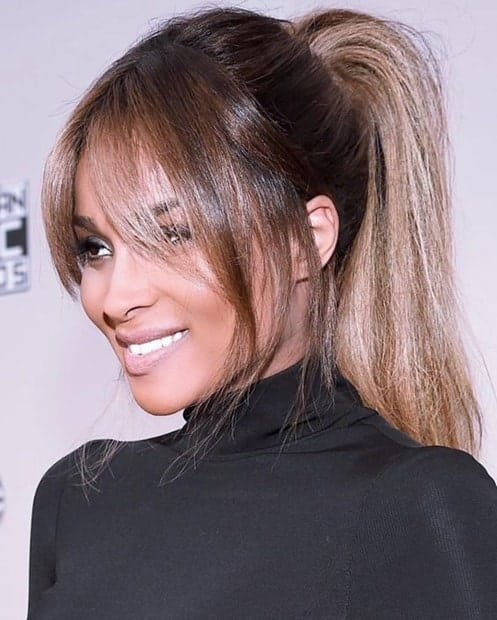 Black women's ponytail styles with bangs