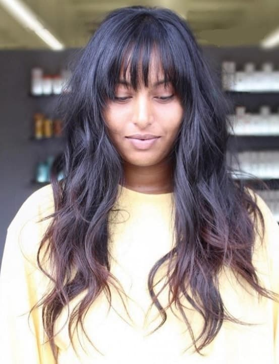 long black hair with bangs and layers
