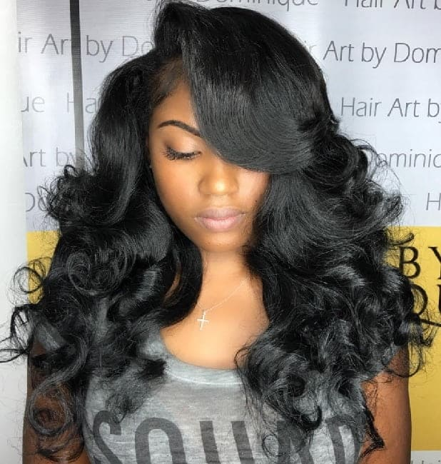 black women's long hair with side swept bangs