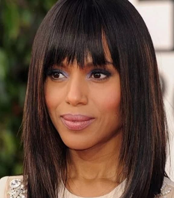 long straight hair with bangs for black women