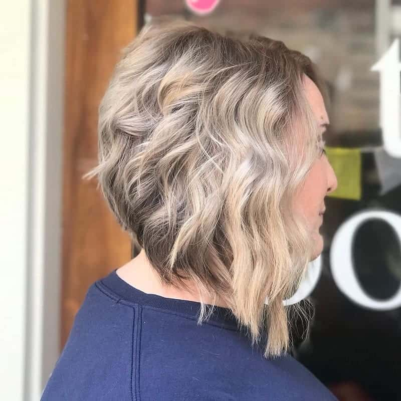concave bob with blonde beach waves