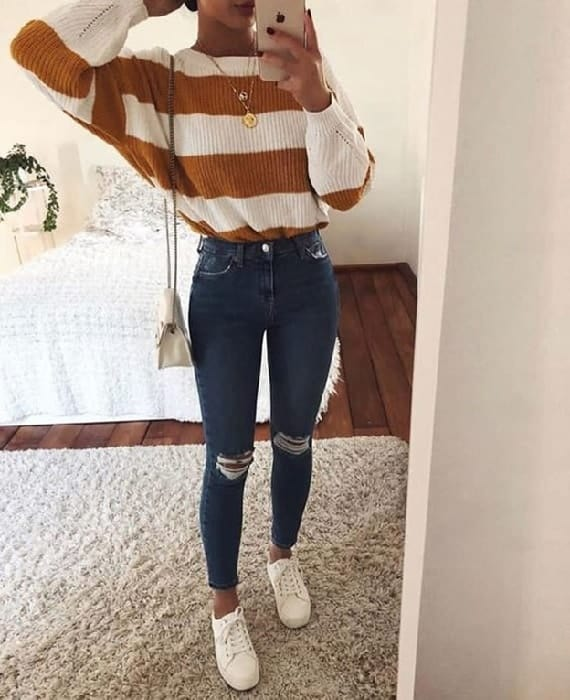 striped outfits for teenage girl