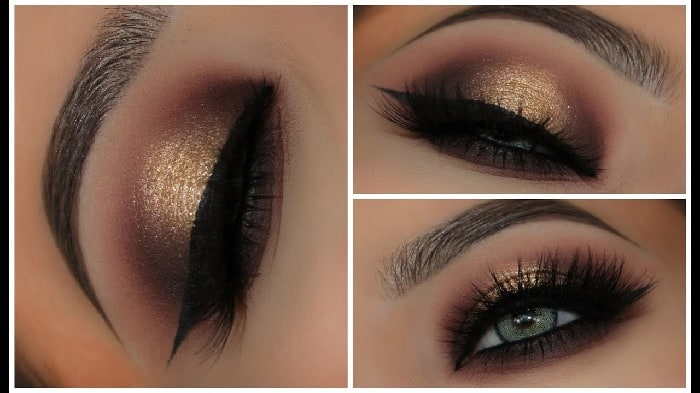 gold smokey eye makeup for brown eyes