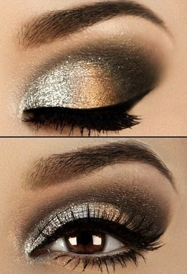 black and gold eye makeup for brown eyes