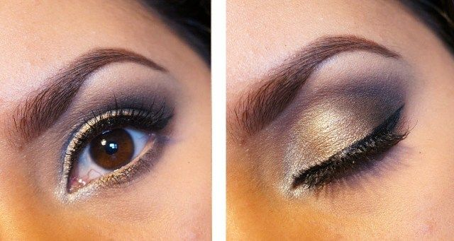 brown eyes with silver and gold eye makeup