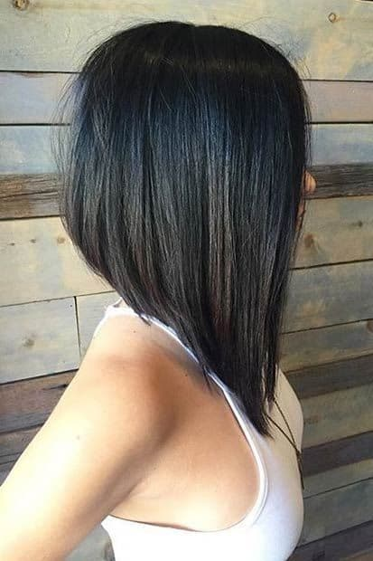 Black Angled Graduated Bob for Women