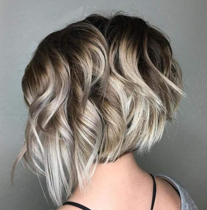 wavy layered graduated bob on fine hair
