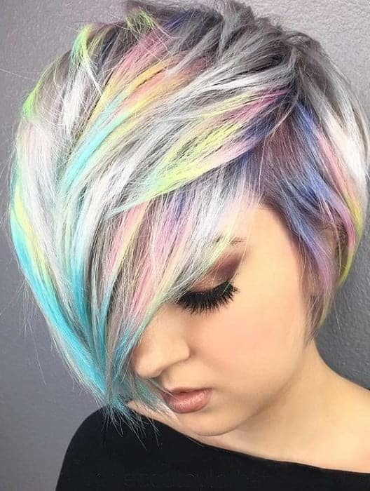 colorful graduated bob style for women with fine hair