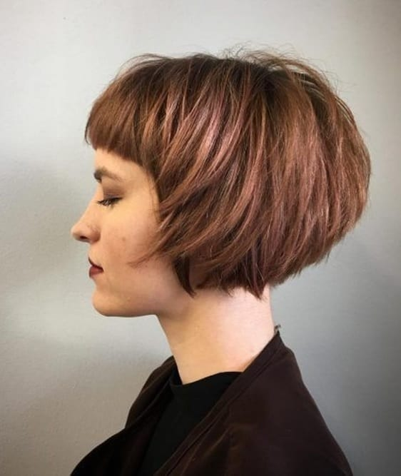 Graduated Bob with Baby Bangs for fine haired Women