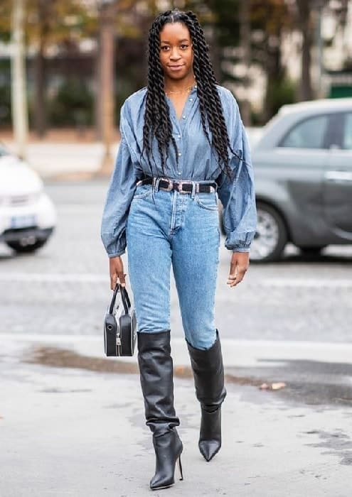 denim outfits with black knee high boot