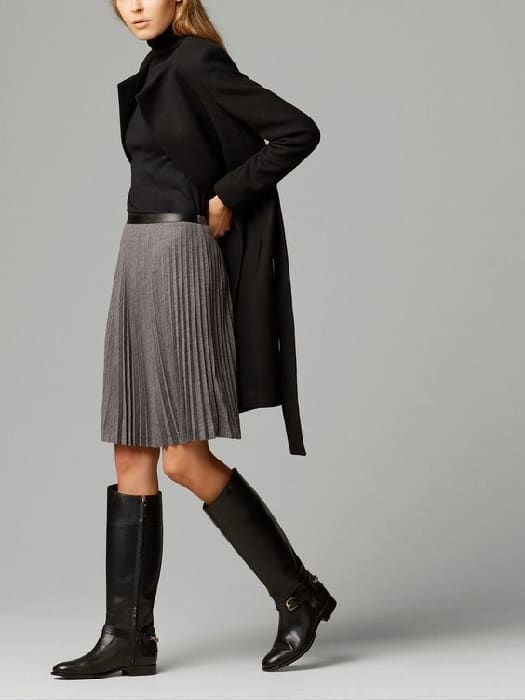 knee high boots outfit ideas with skirts