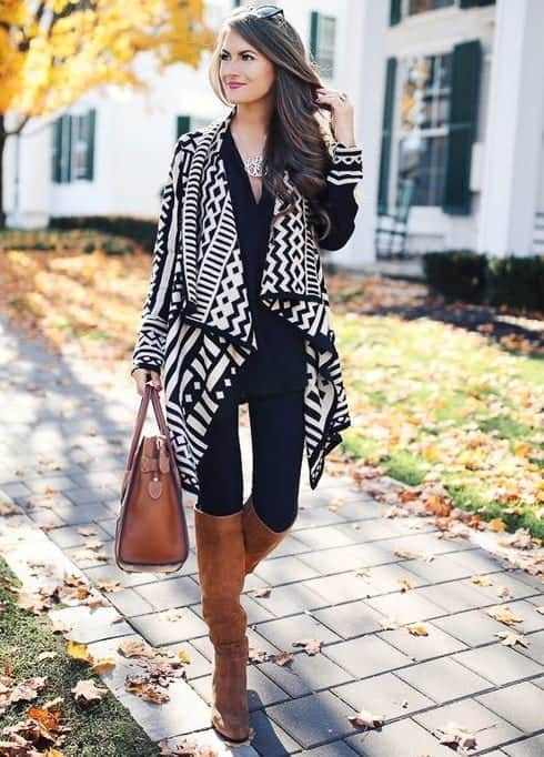 brown knee high boots outfit for women