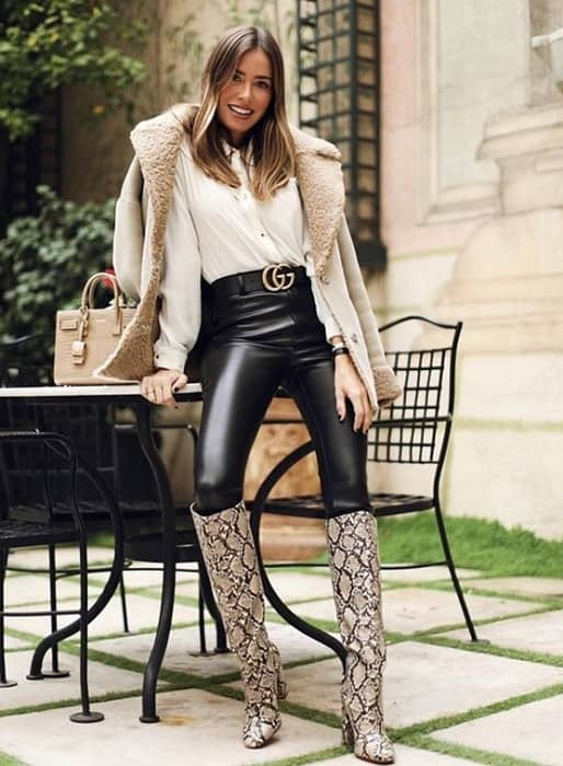 animal printed knee high boot outfit