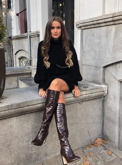 black knee high boots outfit