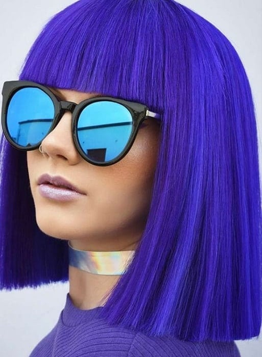 Electric Blue Blunt Bob with Fringe