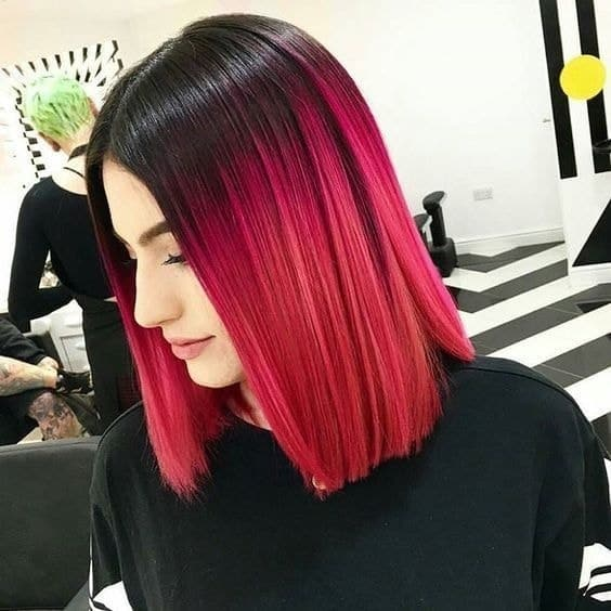 red and black ombre lob