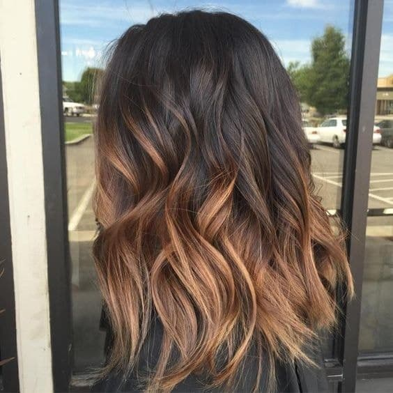 Caramel Brown Ombre on Long Bob