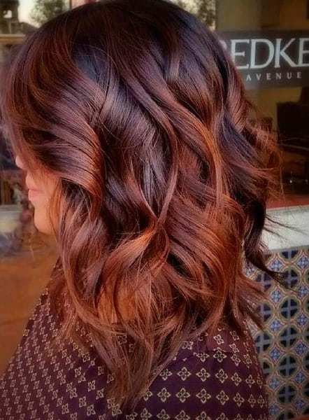 Coppery Long Bob with Ombre