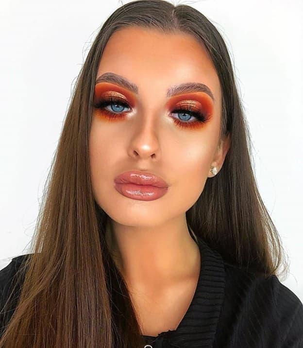 Burnt Orange Makeup for Blue Eyes