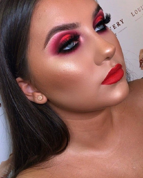 Red Makeup Ideas for Blue Eyes