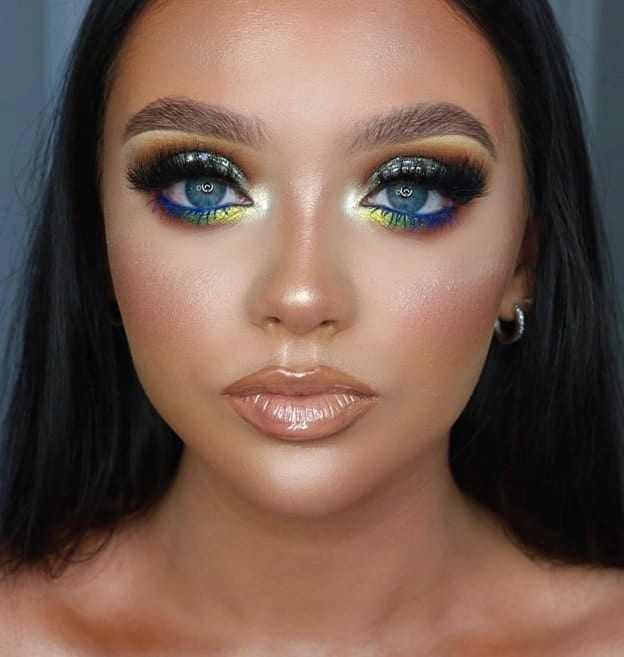 Yellow hued Makeup on blue color eyes