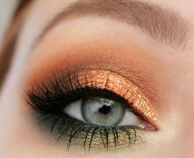 sunset makeup for green eyes with brown hair